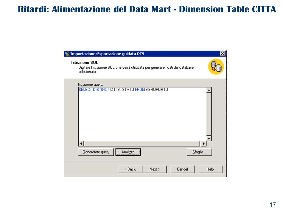 Ritardi: Alimentazione del Data Mart - Dimension Table CITTA