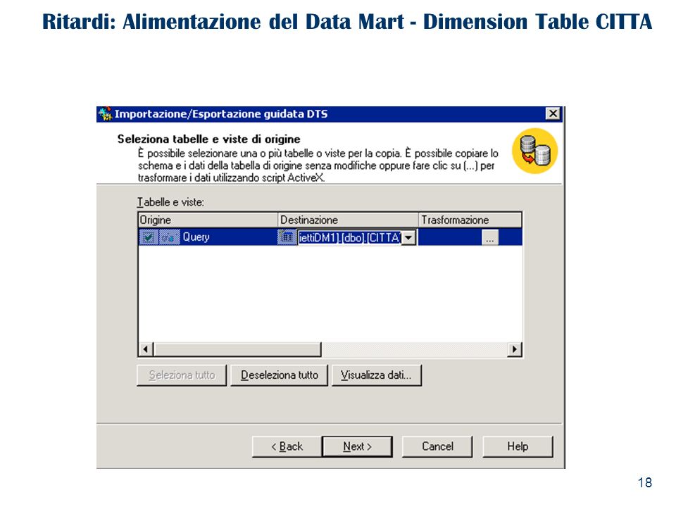 Ritardi: Alimentazione del Data Mart - Dimension Table CITTA