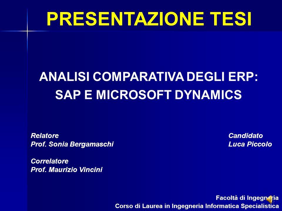 ANALISI COMPARATIVA DEGLI ERP: SAP E MICROSOFT DYNAMICS