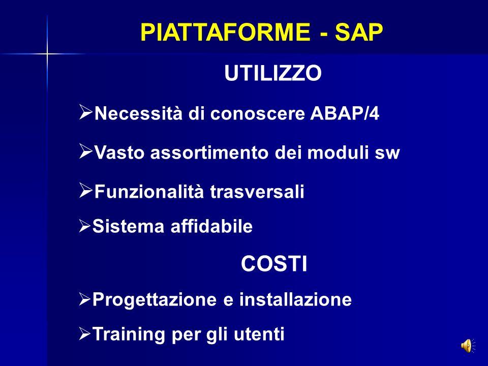 PIATTAFORME - SAP Necessità di conoscere ABAP/4
