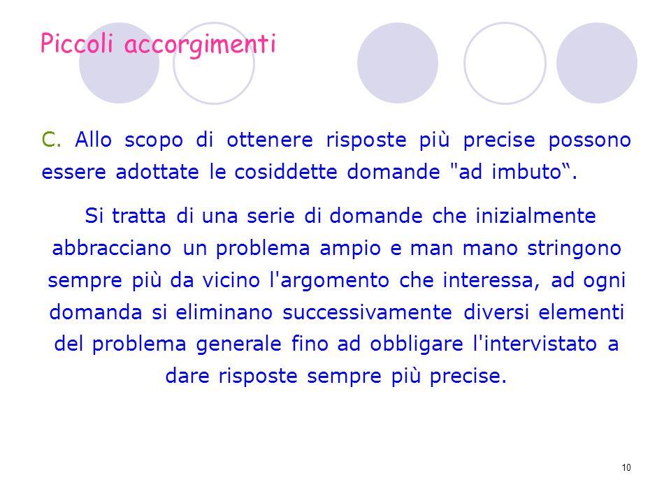 Piccoli accorgimenti C. Allo scopo di ottenere risposte più precise possono essere adottate le cosiddette domande ad imbuto .