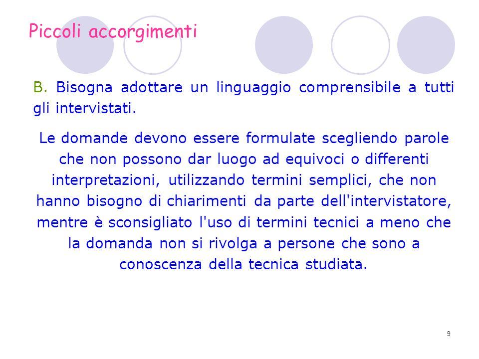 Piccoli accorgimenti B. Bisogna adottare un linguaggio comprensibile a tutti gli intervistati.