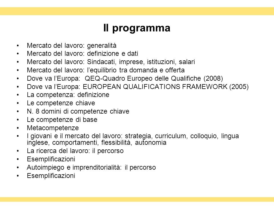 Il programma Mercato del lavoro: generalità
