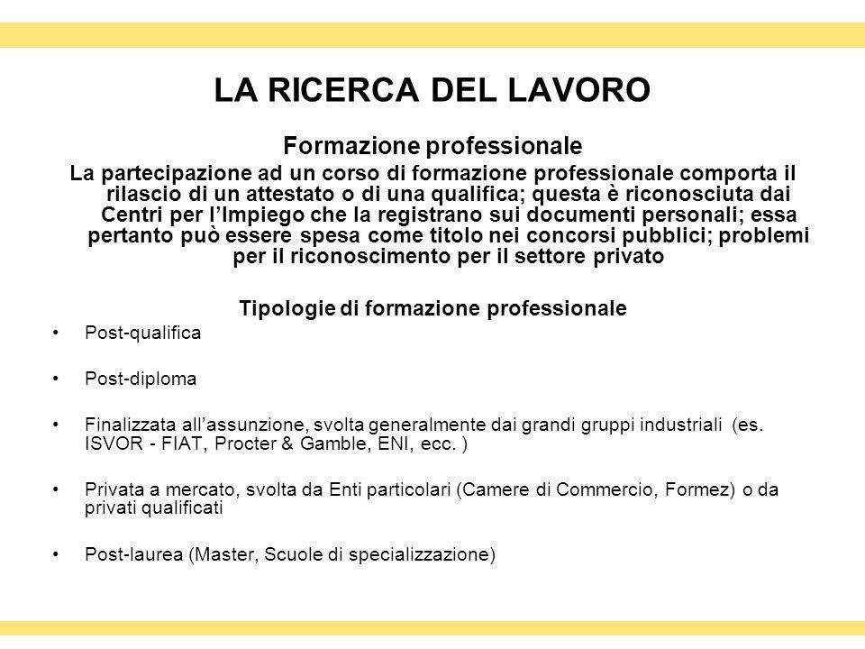 Formazione professionale Tipologie di formazione professionale