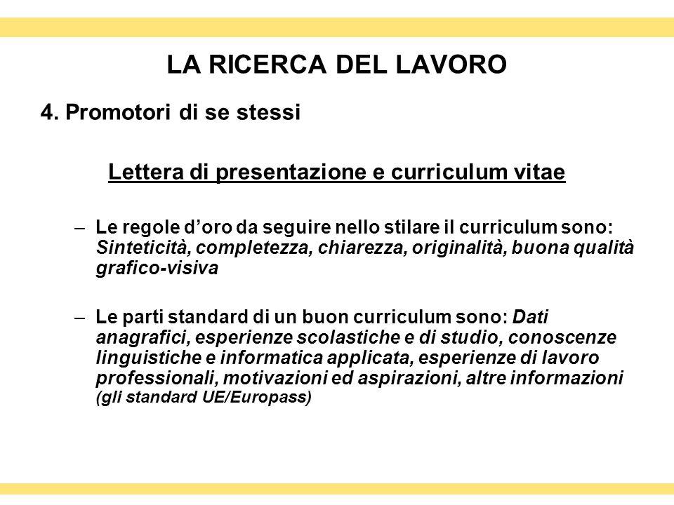 Lettera di presentazione e curriculum vitae