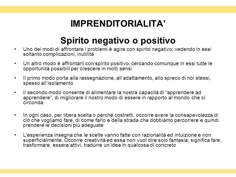 Spirito negativo o positivo