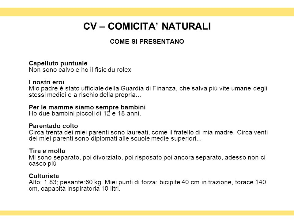 CV – COMICITA' NATURALI