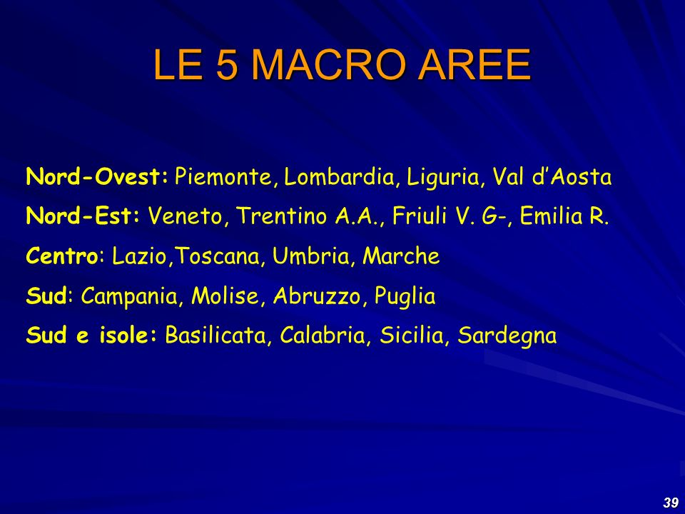 LE 5 MACRO AREE Nord-Ovest: Piemonte, Lombardia, Liguria, Val d'Aosta