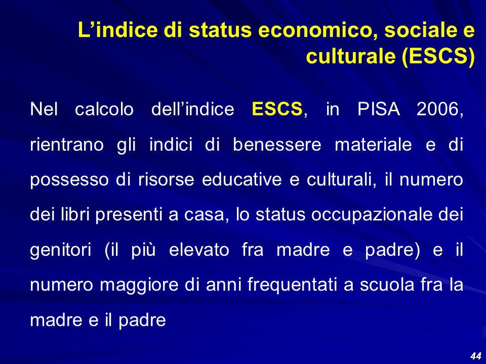 L'indice di status economico, sociale e culturale (ESCS)