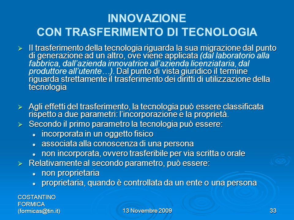 INNOVAZIONE CON TRASFERIMENTO DI TECNOLOGIA
