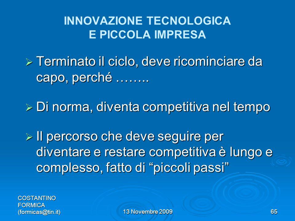 INNOVAZIONE TECNOLOGICA E PICCOLA IMPRESA