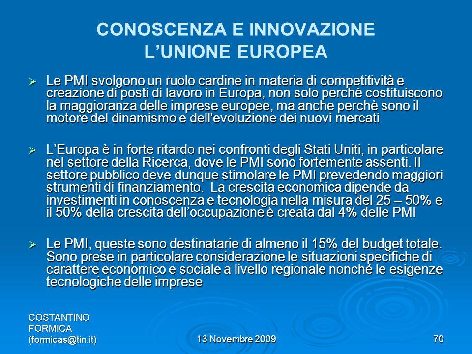 CONOSCENZA E INNOVAZIONE L'UNIONE EUROPEA
