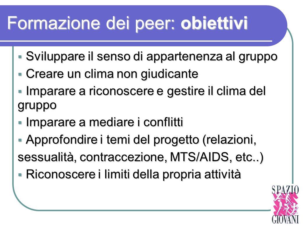 Formazione dei peer: obiettivi
