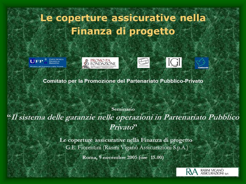 Le coperture assicurative nella Finanza di progetto