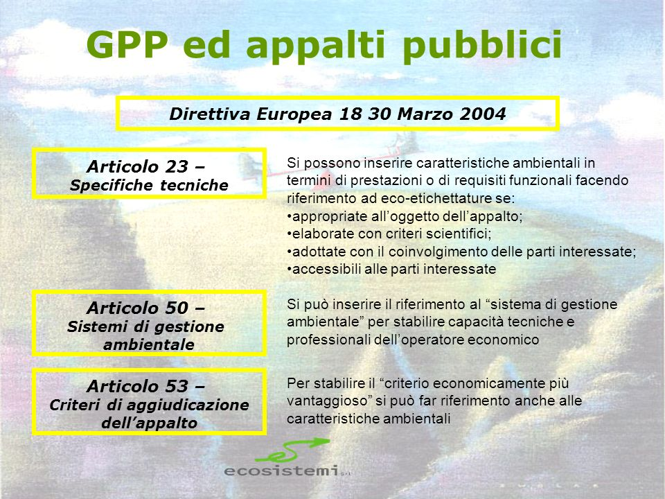 GPP ed appalti pubblici