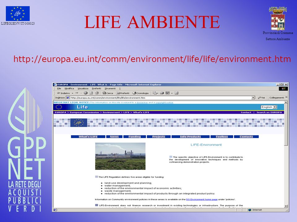 LIFE AMBIENTE http://europa. eu