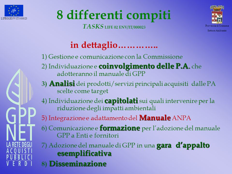 8 differenti compiti TASKS LIFE 02 ENV/IT/000023 in dettaglio…………..