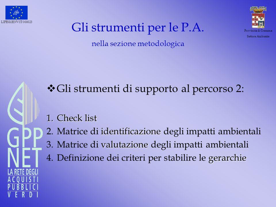 Gli strumenti per le P.A. nella sezione metodologica