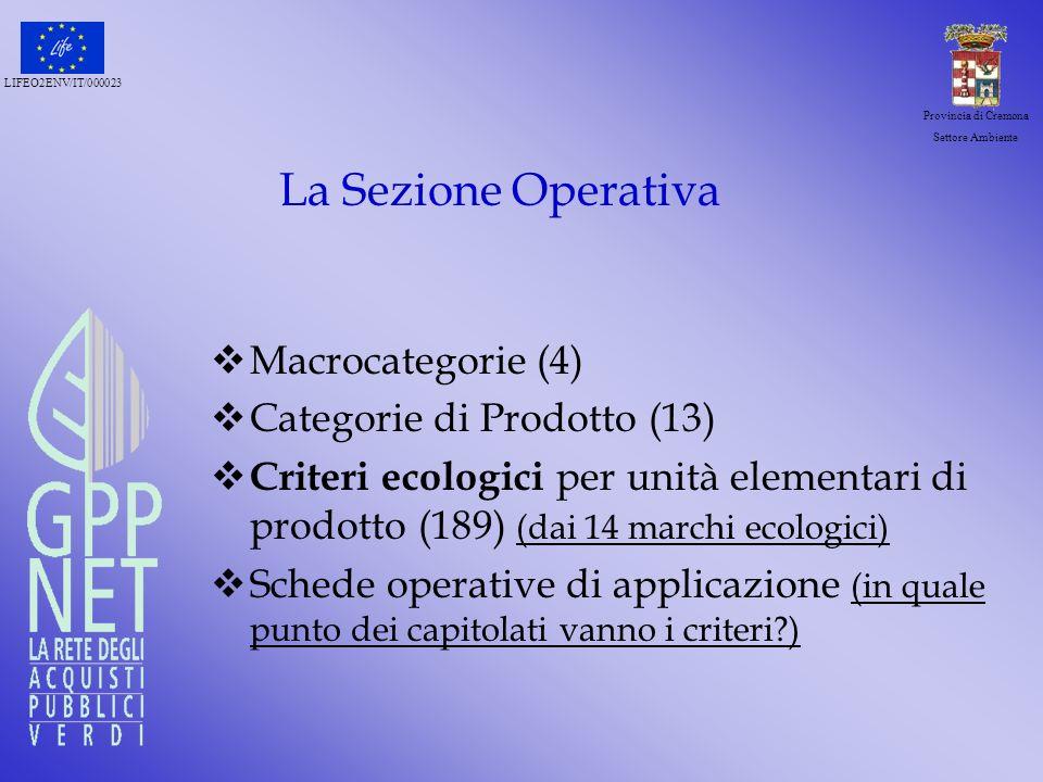 La Sezione Operativa Macrocategorie (4) Categorie di Prodotto (13)