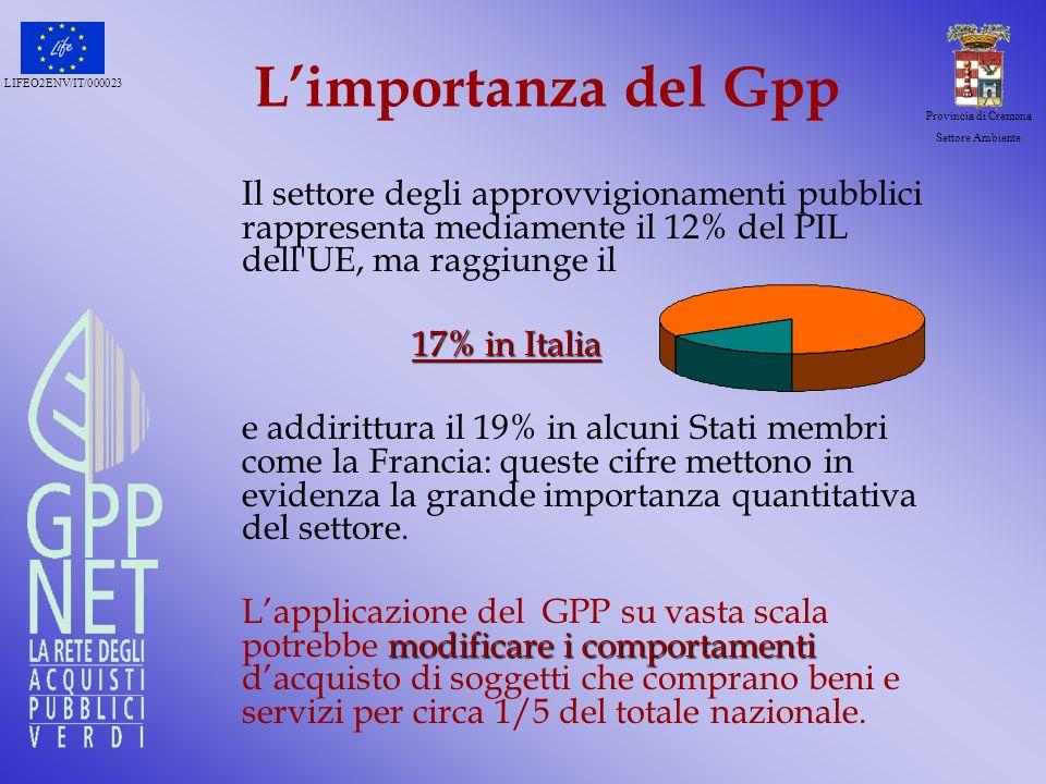 L'importanza del Gpp Il settore degli approvvigionamenti pubblici rappresenta mediamente il 12% del PIL dell UE, ma raggiunge il.