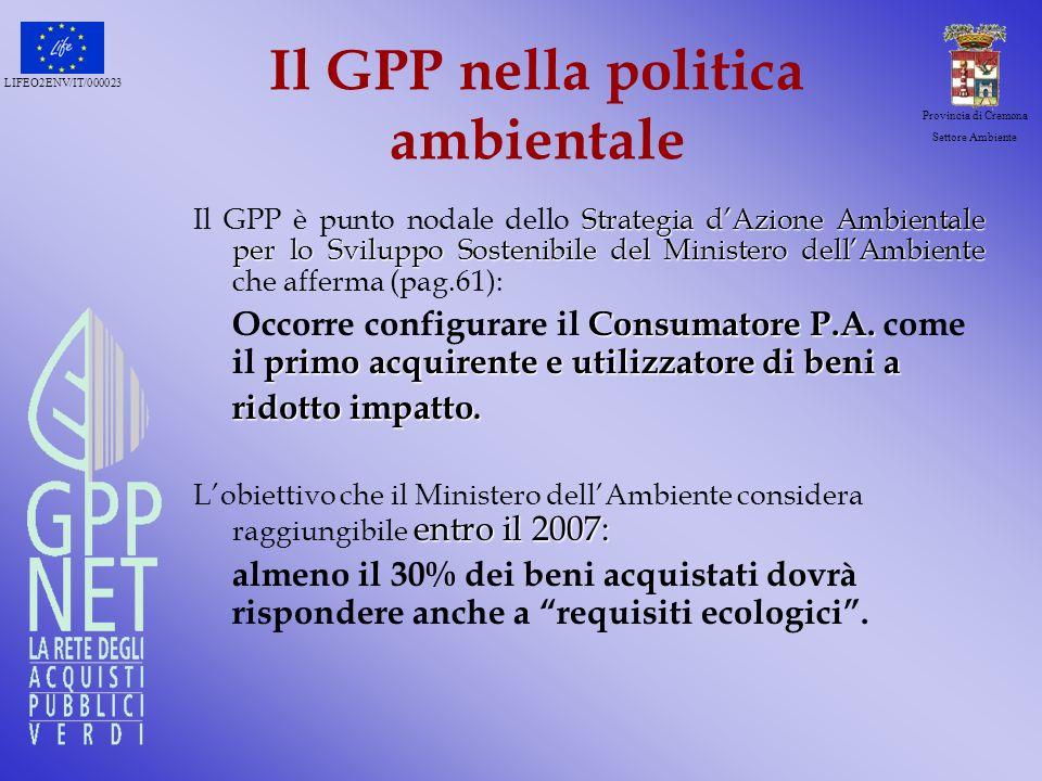 Il GPP nella politica ambientale