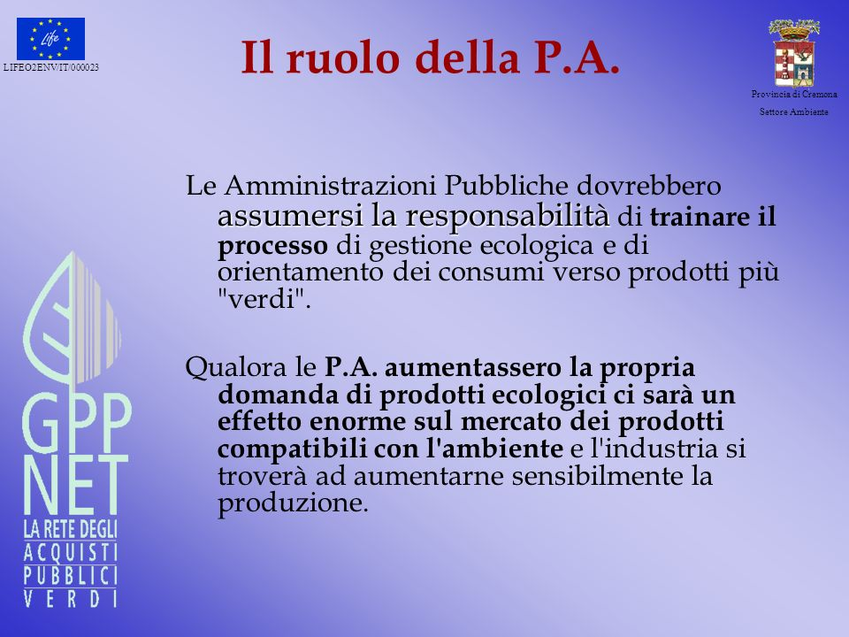 Il ruolo della P.A.