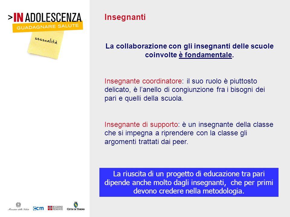 Insegnanti La collaborazione con gli insegnanti delle scuole coinvolte è fondamentale.