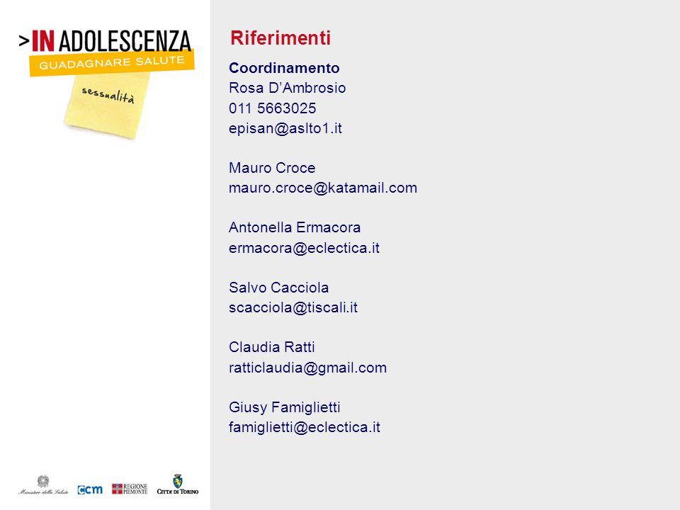 Riferimenti Coordinamento Rosa D'Ambrosio 011 5663025 episan@aslto1.it