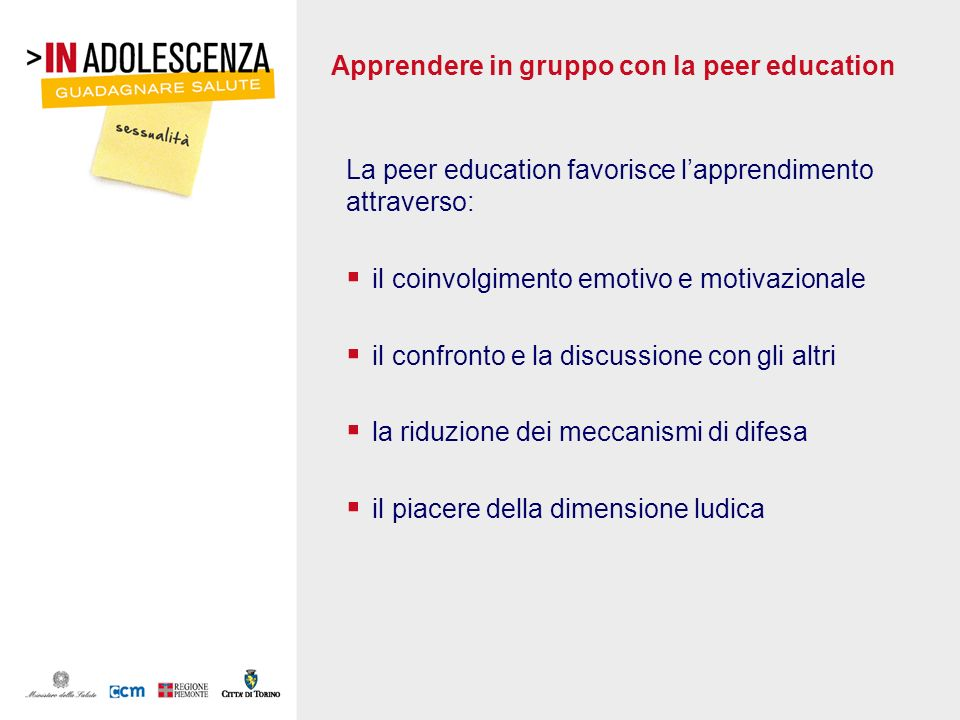 Apprendere in gruppo con la peer education