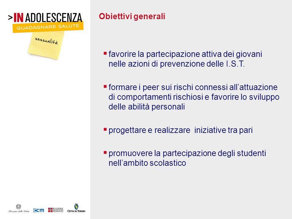 Obiettivi generali favorire la partecipazione attiva dei giovani nelle azioni di prevenzione delle I.S.T.