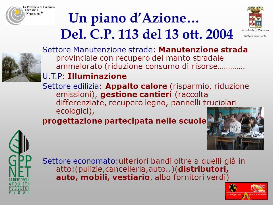 Un piano d'Azione… Del. C.P. 113 del 13 ott. 2004