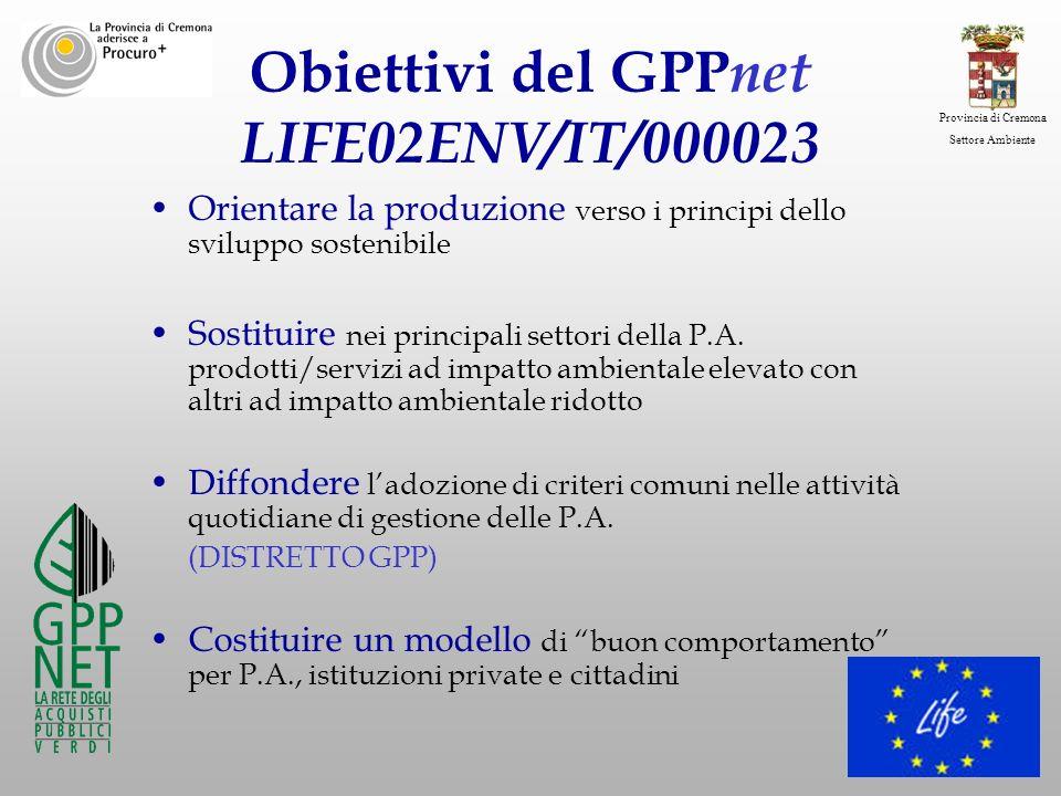 Obiettivi del GPPnet LIFE02ENV/IT/000023