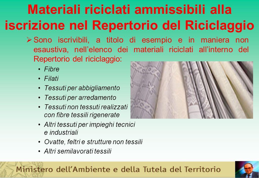Materiali riciclati ammissibili alla iscrizione nel Repertorio del Riciclaggio