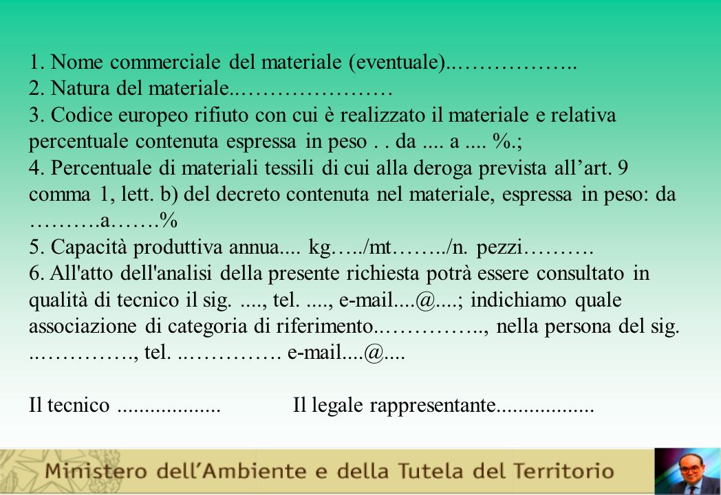 1. Nome commerciale del materiale (eventuale)..……………..
