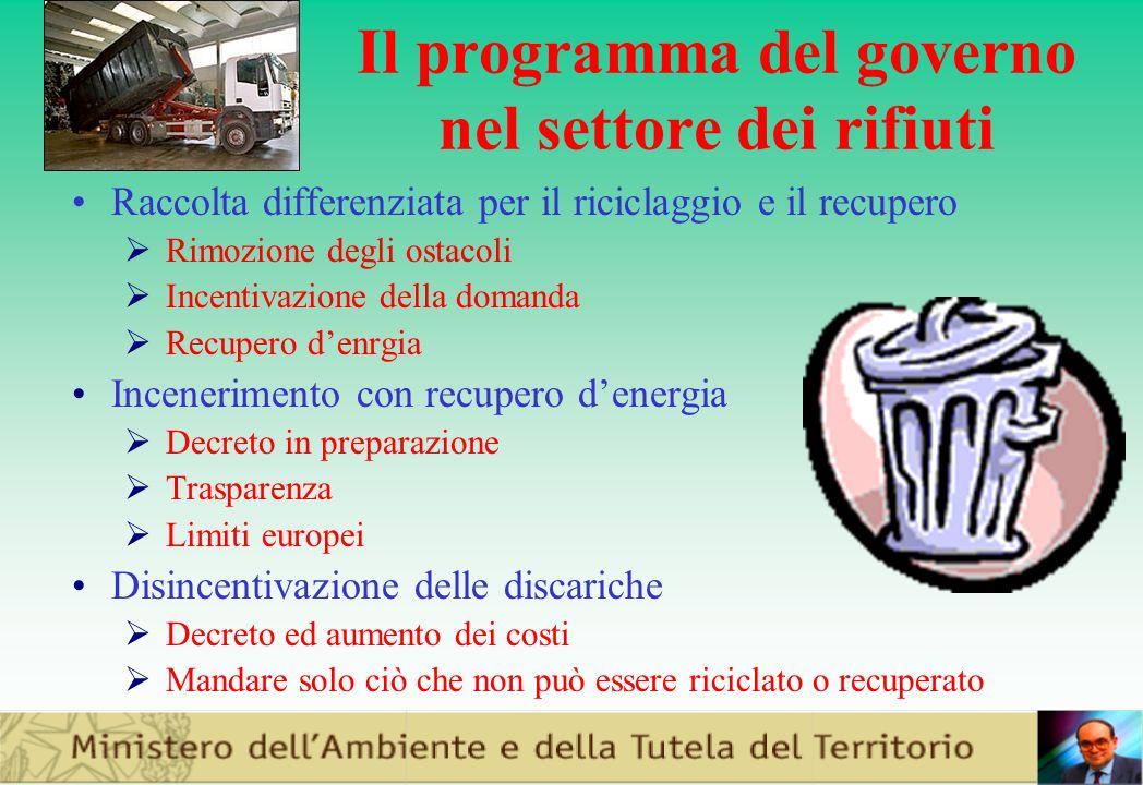 Il programma del governo nel settore dei rifiuti