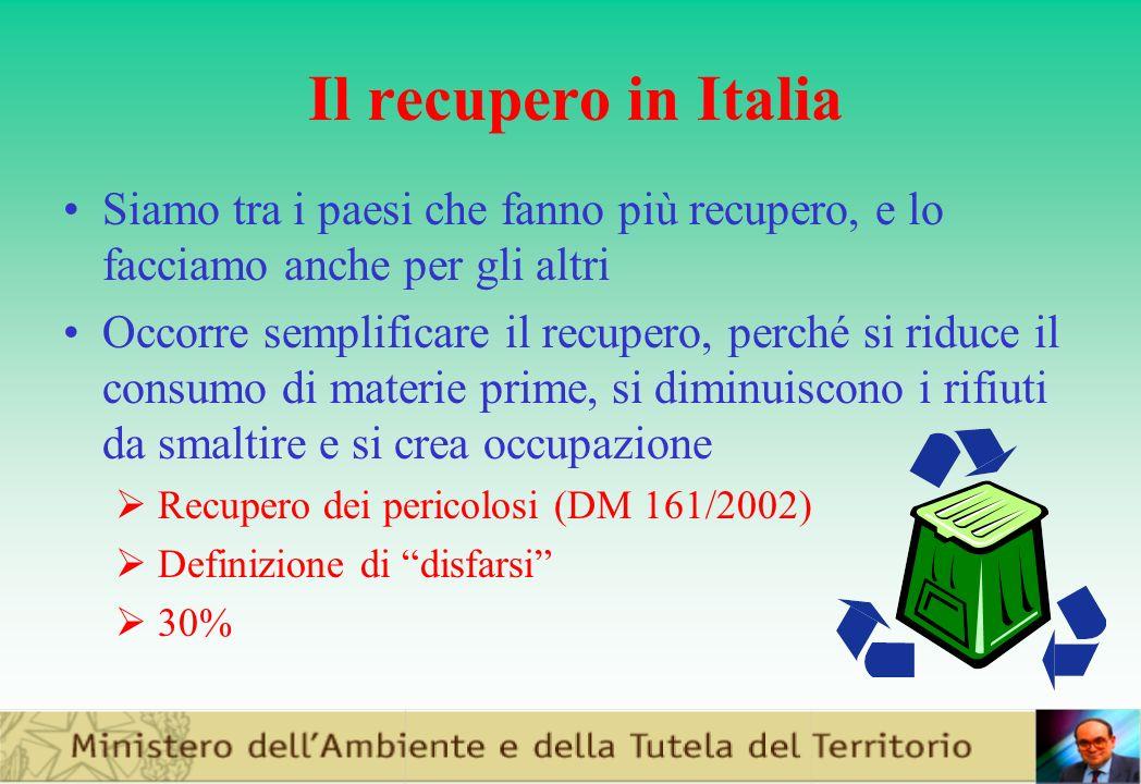 Il recupero in Italia Siamo tra i paesi che fanno più recupero, e lo facciamo anche per gli altri.