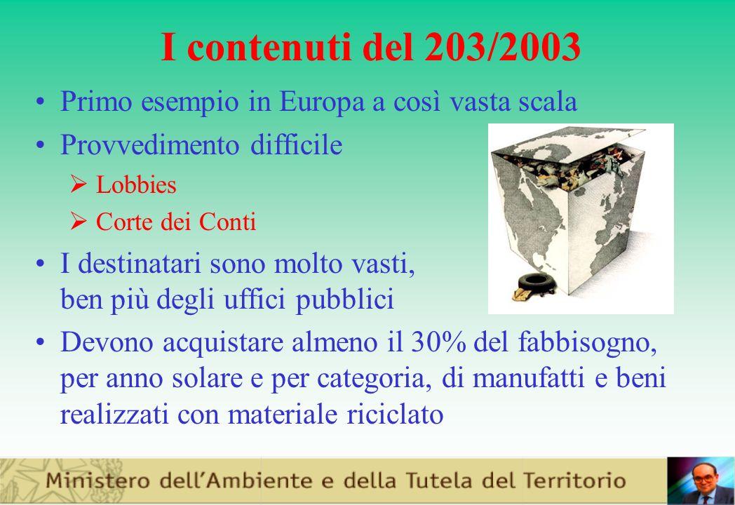 I contenuti del 203/2003 Primo esempio in Europa a così vasta scala