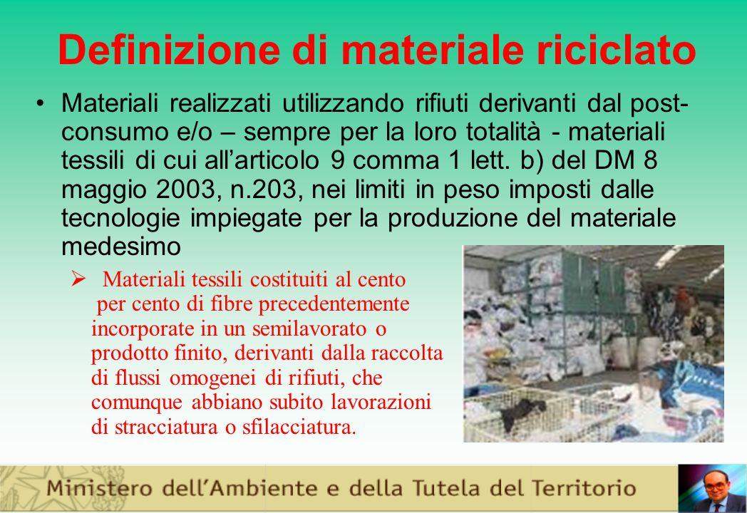 Definizione di materiale riciclato