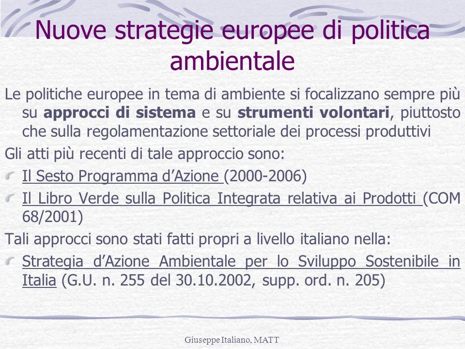Nuove strategie europee di politica ambientale