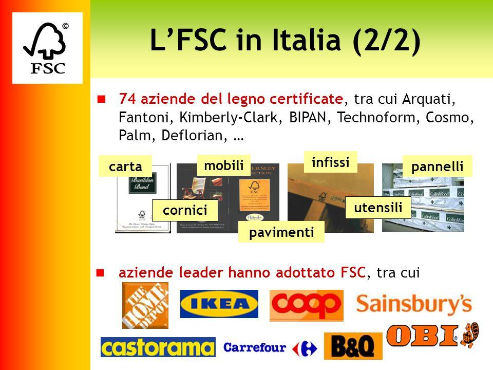 L'FSC in Italia (2/2)74 aziende del legno certificate, tra cui Arquati, Fantoni, Kimberly-Clark, BIPAN, Technoform, Cosmo, Palm, Deflorian, …