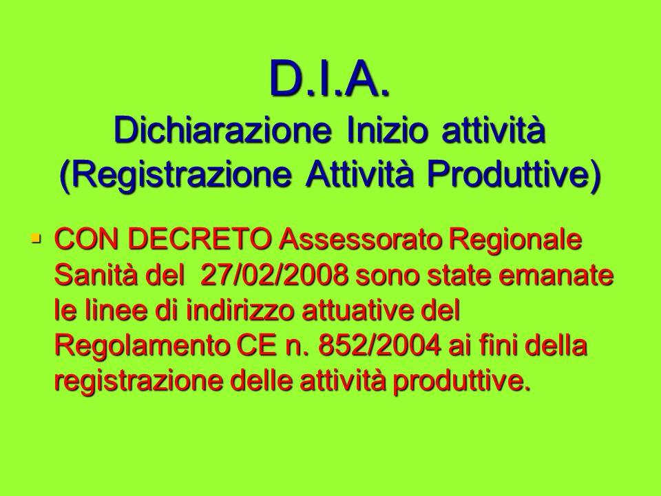 D.I.A. Dichiarazione Inizio attività (Registrazione Attività Produttive)
