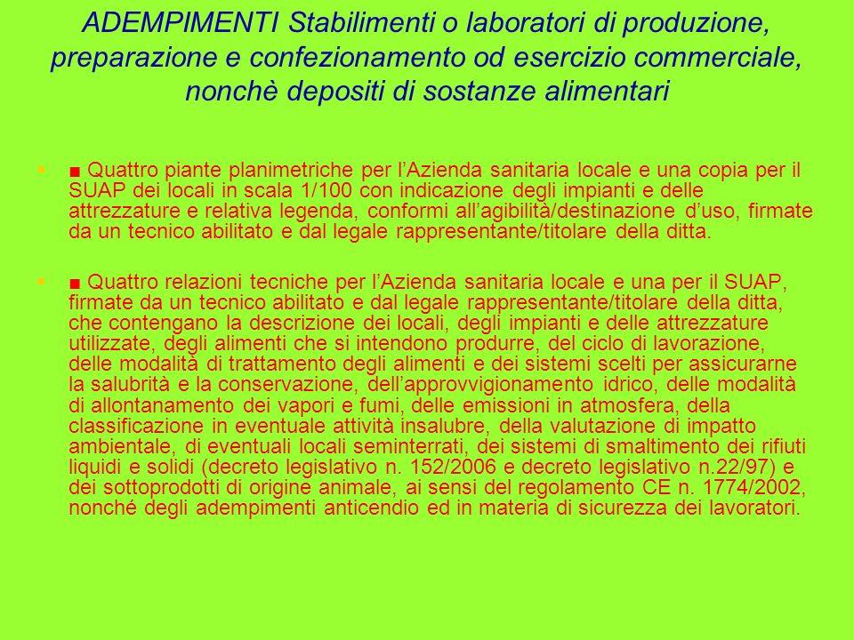 ADEMPIMENTI Stabilimenti o laboratori di produzione, preparazione e confezionamento od esercizio commerciale, nonchè depositi di sostanze alimentari