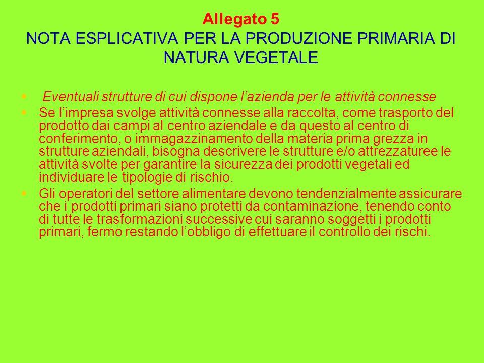 Allegato 5 NOTA ESPLICATIVA PER LA PRODUZIONE PRIMARIA DI NATURA VEGETALE