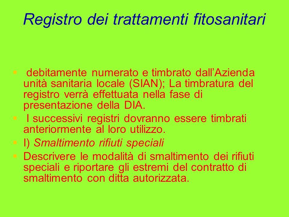 Registro dei trattamenti fitosanitari