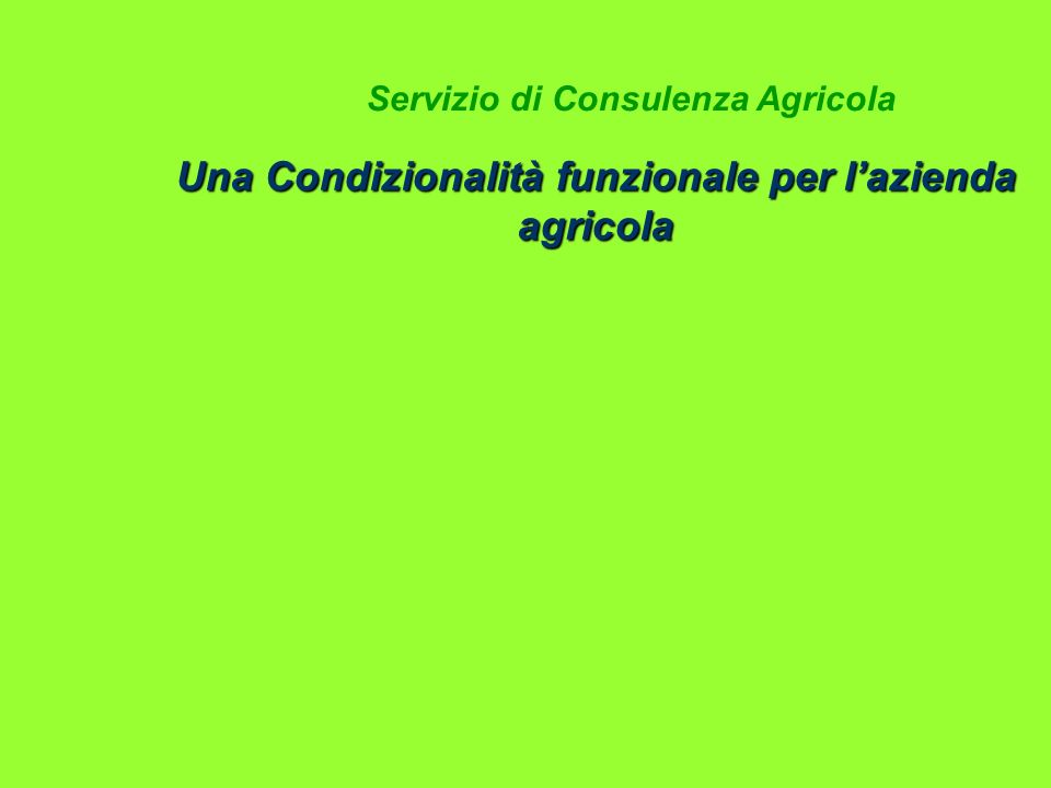 Una Condizionalità funzionale per l'azienda agricola