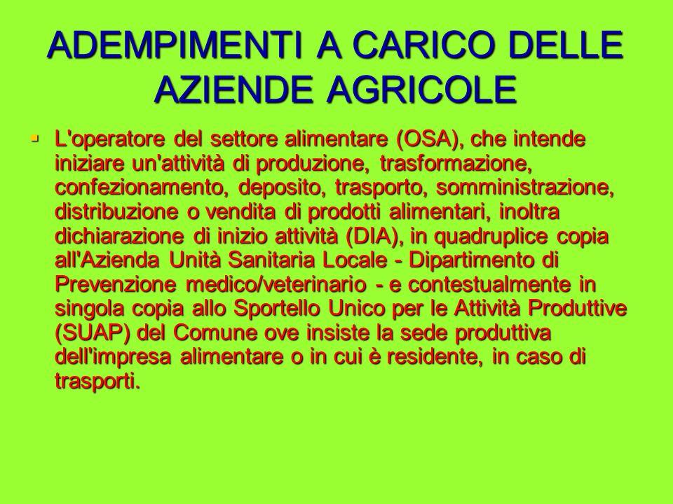 ADEMPIMENTI A CARICO DELLE AZIENDE AGRICOLE