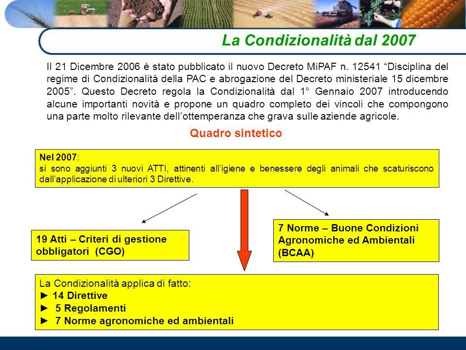 La Condizionalità dal 2007 Quadro sintetico
