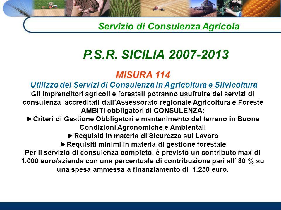 Servizio di Consulenza Agricola MISURA 114