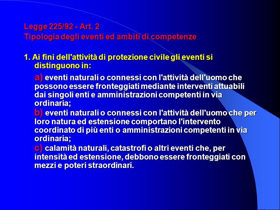 Legge 225/92 - Art. 2 Tipologia degli eventi ed ambiti di competenze. 1. Ai fini dell attività di protezione civile gli eventi si distinguono in: