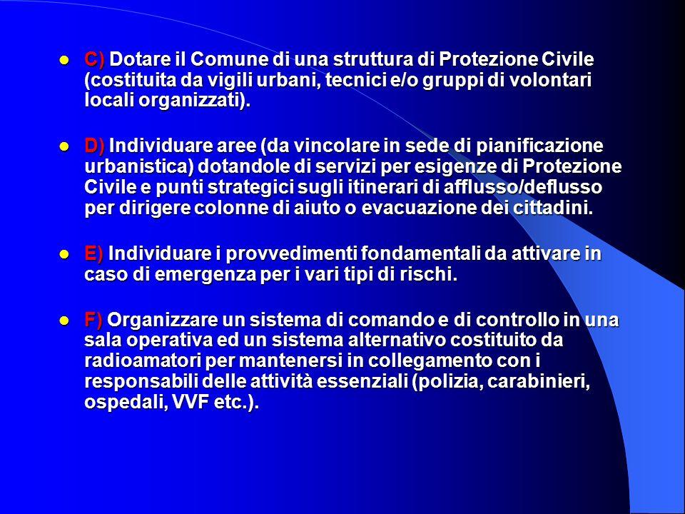 C) Dotare il Comune di una struttura di Protezione Civile (costituita da vigili urbani, tecnici e/o gruppi di volontari locali organizzati).